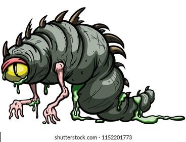 Illustration amorphous cartoon worm creature with one eye