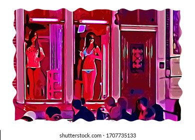 Illustration of Amsterdam red light district with sex worker in the red lit window facing passer by, Netherlands