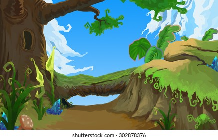 Illustration: The Ancient Forest - The Path out. Realistic / Cartoon Style. Fantastic Topic. Scene / Wallpaper / Background Design.