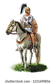 Illustration of an ancient Spanish horseman from the Roman Empire