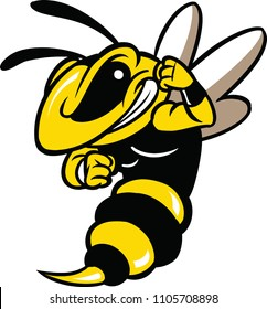 Illustration of a angry bee.
