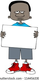 Illustration of an angry black boy holding a large, blank sign.