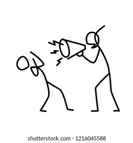 Illustration of an angry boss screaming at an employee. A disgruntled manager yells at an employee. Metaphor. Linear style. Illustration for website or presentation. Conflict at work.