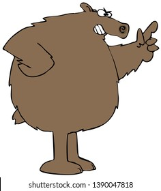 Illustration of an angry brown bear with one paw on its hip and the other wagging a finger.