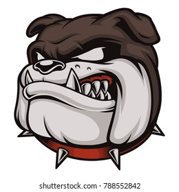 Illustration with angry bulldog. Logo with head of dog. (RASTER VERSION)