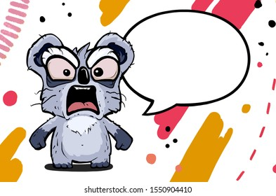 Illustration of an angry cartoon koala with text bubble. Character is standing on an abstract colored background with stroks and dots.
