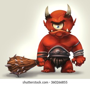 illustration of angry cyclops monster