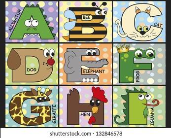 illustration of animal alphabet - stock 1