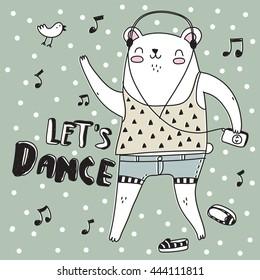 Illustration Animals: Dancing Cute White Bear