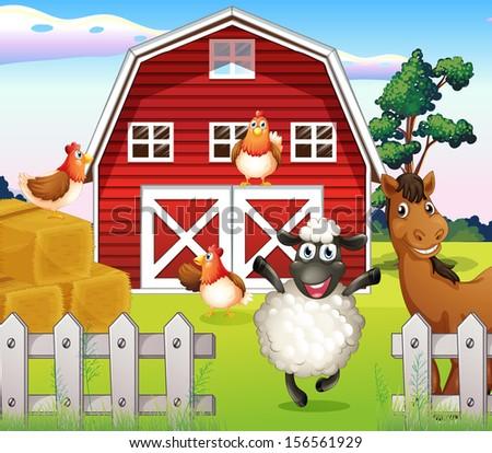 illustration animals farm barnhouseのイラスト素材 156561929