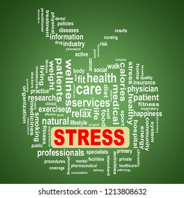 Illustration of apple shape health care wordcloud tags showing concept of stress