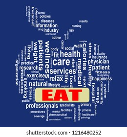 Illustration of apple shape wordcloud health care showing concept of eat
