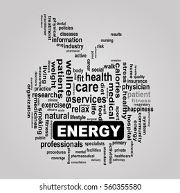 Illustration of apple shape wordcloud health care showing concept of energy
