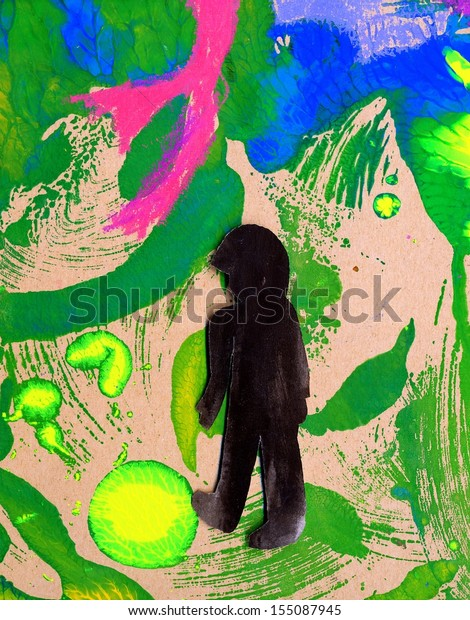 The illustration (applique work) of a peoples figure on the abstract colored background