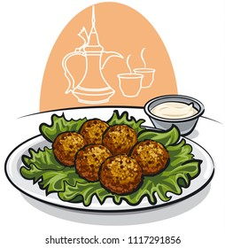 illustration of arabic food falafel with lettuce and sauce on plate