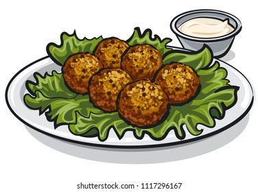 illustration of arabic traditional falafel with lettuce and sauce on plate
