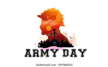 illustration of army day. Kargil vijay diwas and people saluting the indian sholders.