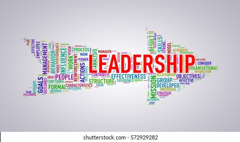 Illustration of arrow shape tags wordcloud of leadership