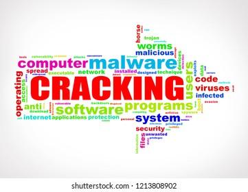 Illustration of arrow shape wordcloud tag malware cracking