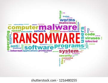 Illustration of arrow shape wordcloud tag malware ransomware