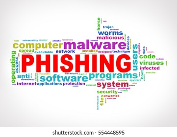 Illustration of arrow shape wordcloud tag malware phishing