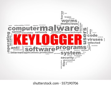 Illustration of arrow shape wordcloud tag malware keylogger
