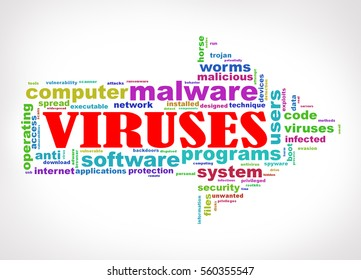 Illustration of arrow shape wordcloud tag malware viruses