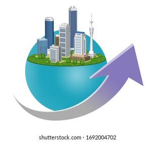 街の経済成長を表す矢印と3Dアートワーク