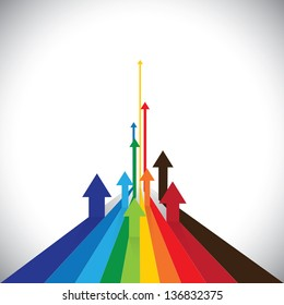 Illustration of arrows showing some winners and some losers. This colorful graphic can also represent sales of competitors or employee performances or asset performance, etc