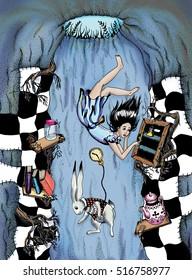 Illustration art. Alice in Wonderland. falling in a rabbit hole.