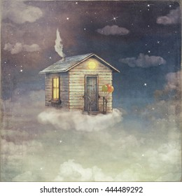 Illustration art of a cartoon small house on a cloud in night dark  sky
