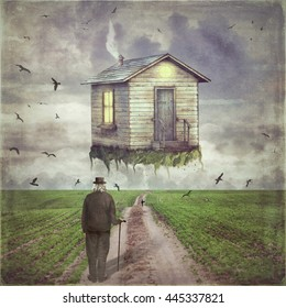 Illustration art of a  small house  in   sky  above  glade