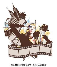 Illustration Artistic Vintage Cinema Logo/ High resolution Jpeg