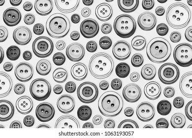 Illustration of assorted buttons scanned from an original line and wash painting then composed into a pattern. The whole image is a pattern tile and can be repeated to make a seamless pattern.