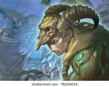 illustration of an astrology sign aries as a handsome man with golden horns on an abstract background
