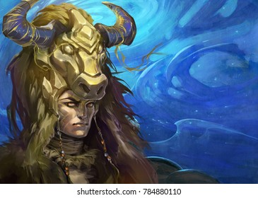illustration of an astrology sign taurus as a handsome shaman with horns on the background of blue sky