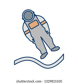 Illustration Astronout Landing Icon