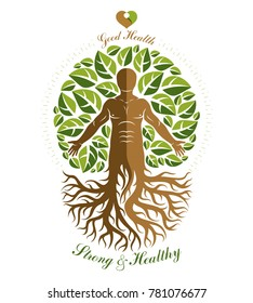illustration of athletic man depicted as continuation of tree with roots. Strong heart is good health, wellness center abstraction.