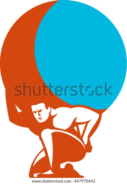 Illustration of Atlas kneeling carrying globe world earth on his back set on isolated white background done in retro style.