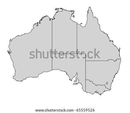Australia Map Provinces.Illustration Australia Map Borders Provinces States Stock