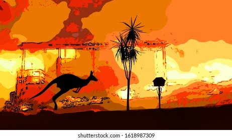 Illustration of Australian bushfire or wildfire. There is a house on fire with a silhouette of a plant, letter box and kangaroo hopping past.
