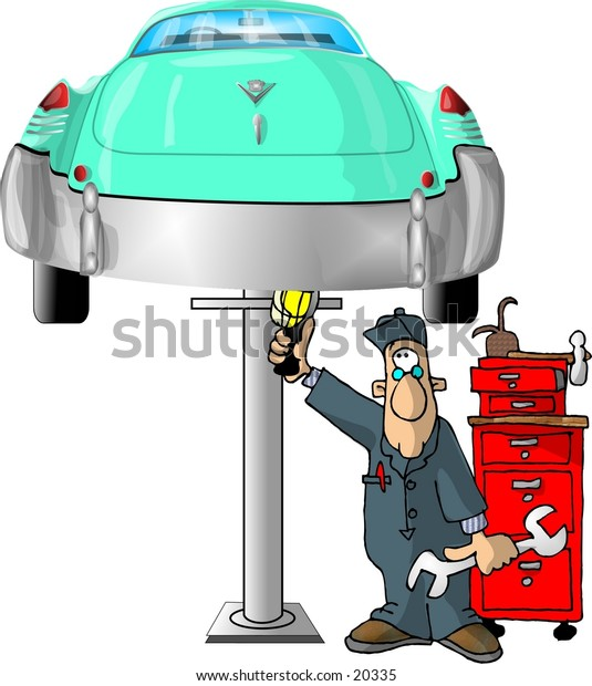 Illustration of an auto mechanic working on the bottom of a car that is raised on a hoist.