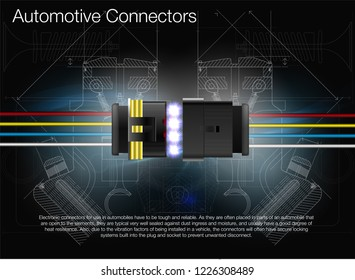 Illustration of an automotive connector. Can be used as advertising. Technical background vector. All elements of the image are grouped.