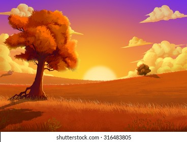 Illustration: The Autumn. Fantastic Cartoon Style Scene Wallpaper Background Design with Story.