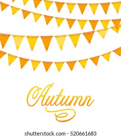 Illustration Autumnal Decoration with Orange and Yellow Bunting Flags and Text -