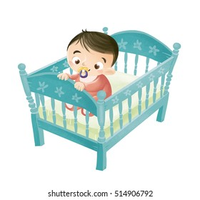 Illustration of baby in the crib