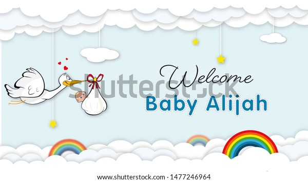 Illustration Baby Shower Welcome Baby Banners Stock Illustration 1477246964
