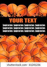 Illustration background with basketball balls. There is a place for your text.