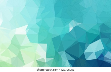 Illustration background in geometric pattern with polygonal style in color light and dark blue and light green.