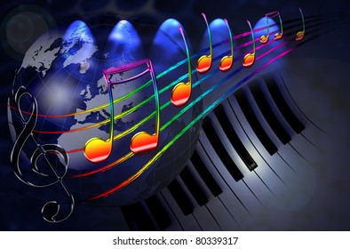 Globe And Music Images, Stock Photos & Vectors | Shutterstock